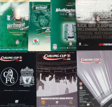 Complete set of LEAGUE CUP FINAL PROGRAMMES whilst Wembley was being rebuilt 2001 to 2007